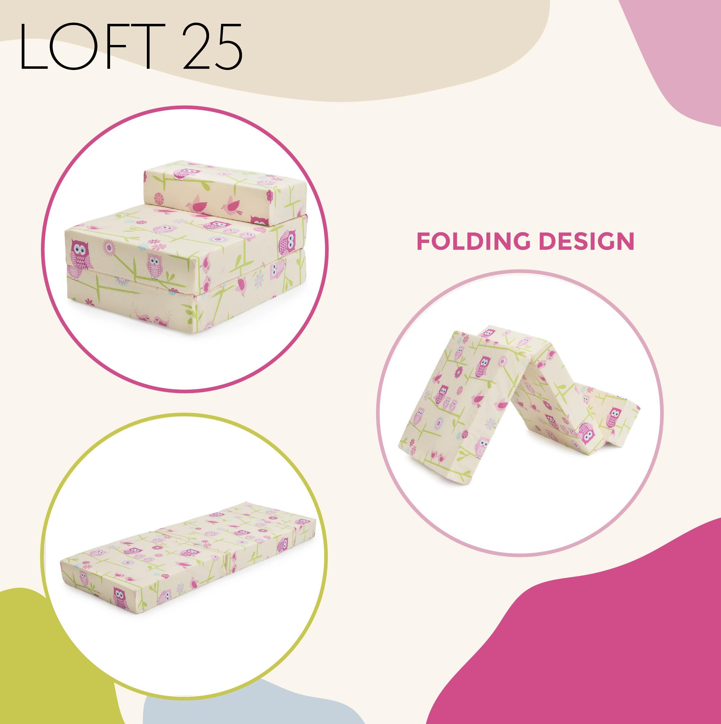 Owls Children/'s Z Bed Fold Out Chair Bed Mattress Sleepover Kids Foam Guest Bed